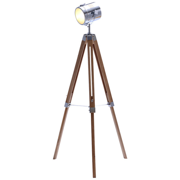 Mesh Head Tripod Floor Lamp - Large - Natural Wood - Industrial Lighting Studio