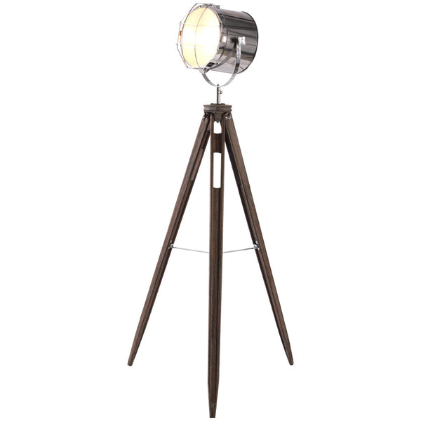 Chromed Head & Mesh Tripod Floor Lamp - Large - Industrial Lighting Studio