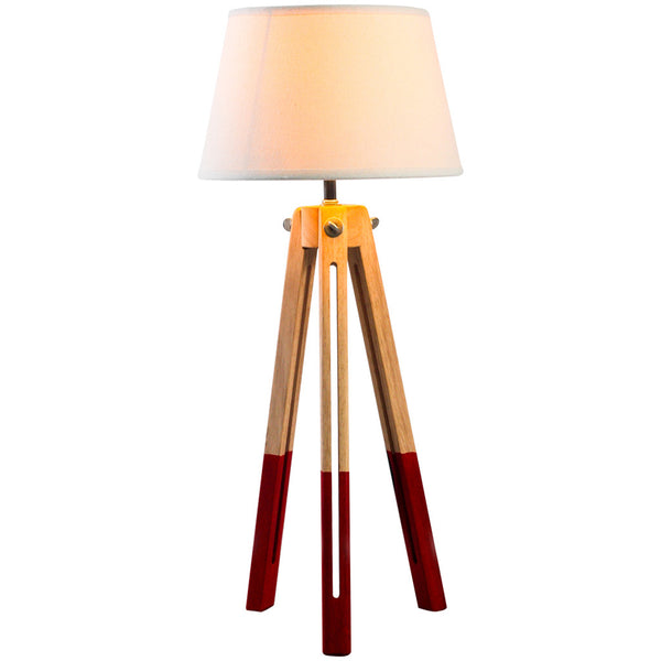 Two Colour Tripod Table Lamp - Medium - Red - Industrial Lighting Studio