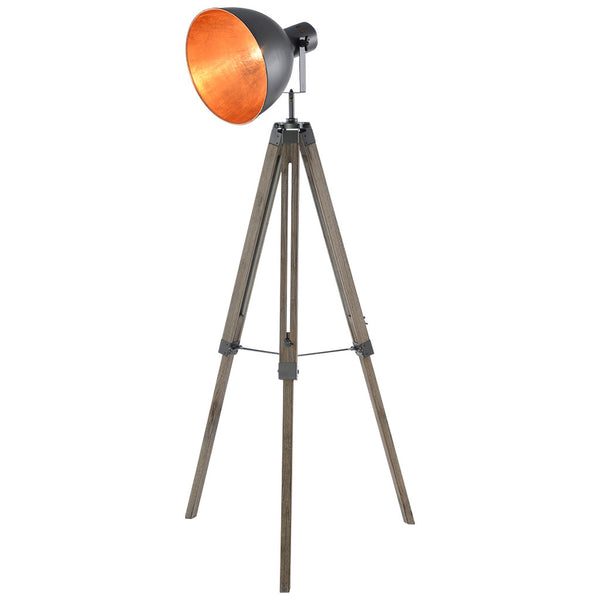 Big Bowl Tripod Floor Lamp - Large - Steel Grey and Gold - Industrial Lighting Studio