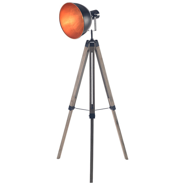Big Bowl Tripod Floor Lamp - Large - Steel Black and Gold - Industrial Lighting Studio