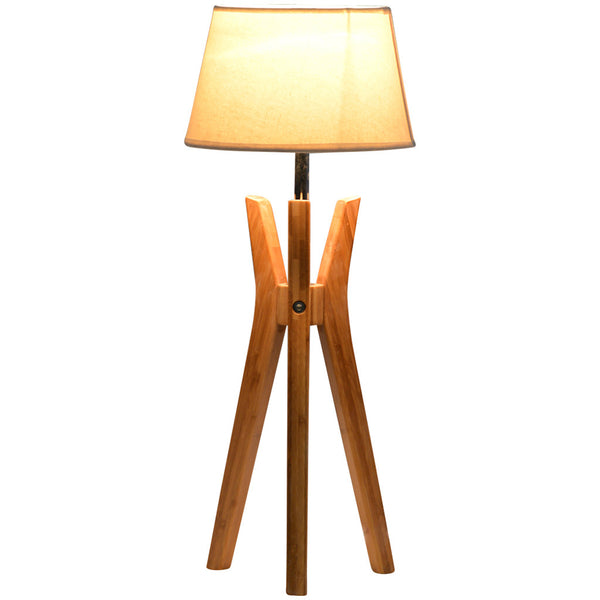 Tripod Base Table Lamp - White Linen Shade - Industrial Lighting Studio