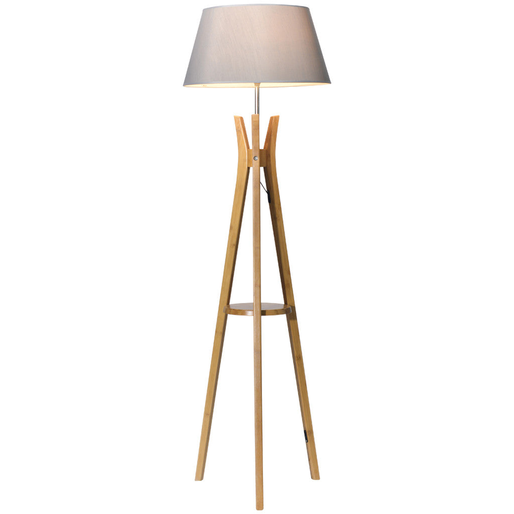 Tripod base floor lamp large white linen shade lightologie for Tripod floor lamp silver base white shade