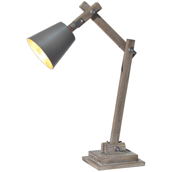 Antique Wood Table Lamp - Grey & Gold - Industrial Lighting Studio