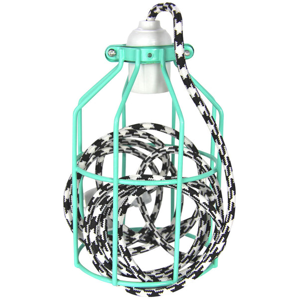 Miners Pendant - Peppermint with B/W Houndstooth - Industrial Lighting Studio - 4