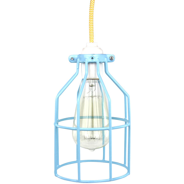 Miners Pendant - Light Blue with Yellow - Industrial Lighting Studio - 2