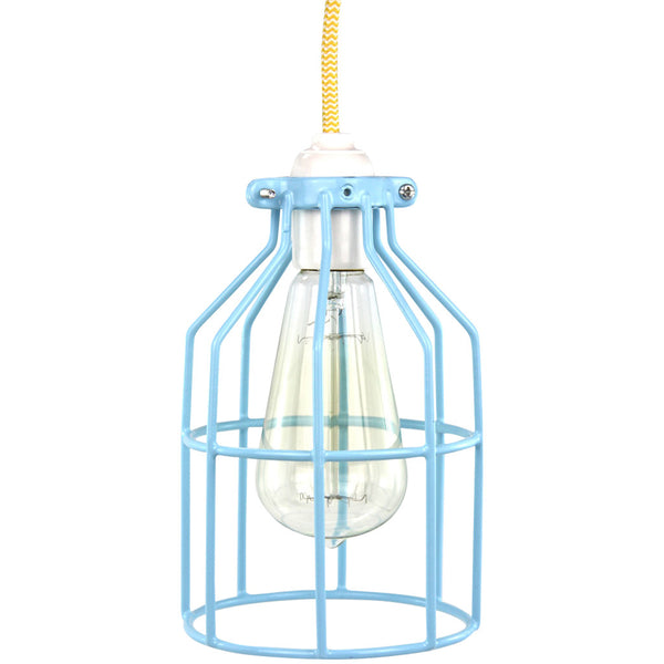Miners Pendant - Light Blue with Yellow - Industrial Lighting Studio - 1