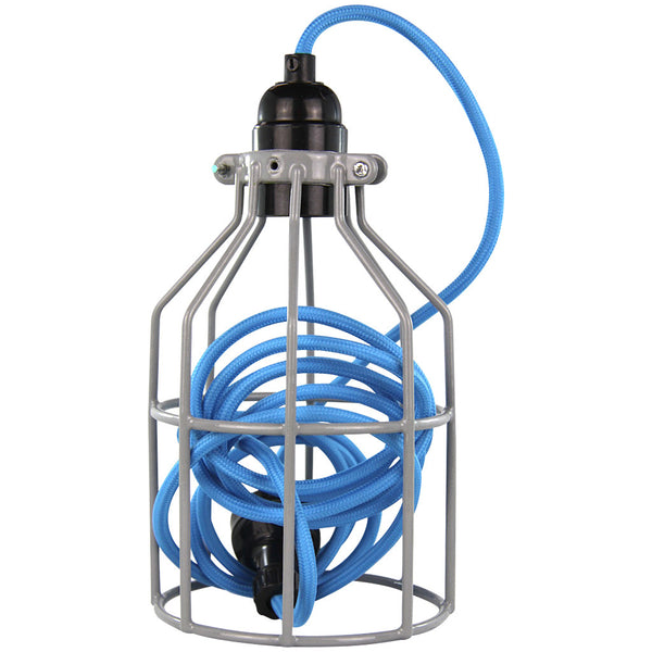 Miners Pendant - Grey with Mid Blue - Industrial Lighting Studio - 1