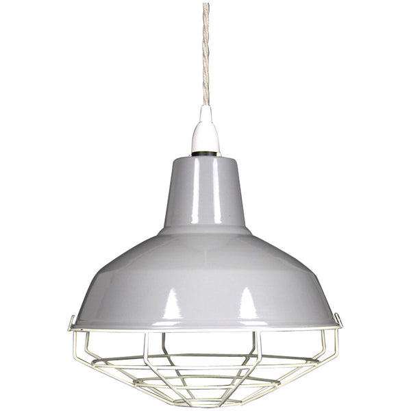Cage Tennis Shade Pendant - Grey with white - Industrial Lighting Studio - 1