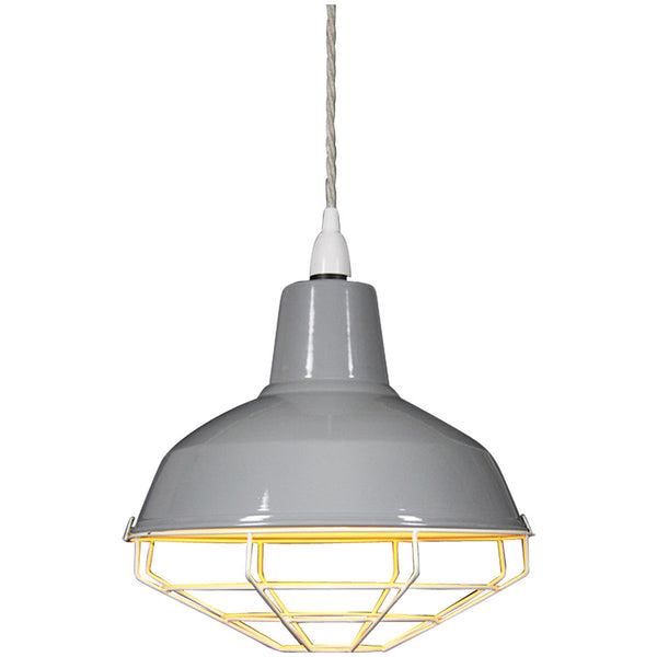Cage Tennis Shade Pendant - Grey with white - Industrial Lighting Studio - 4