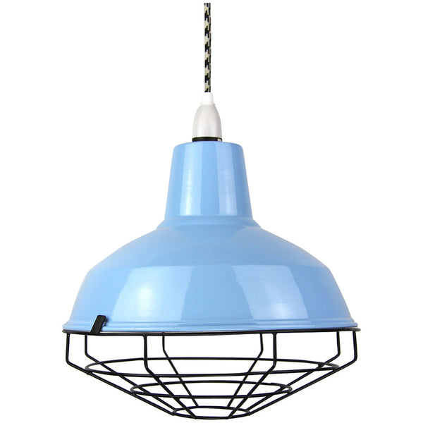 Cage Tennis Shade Pendant - Blue with Black - Industrial Lighting Studio - 1