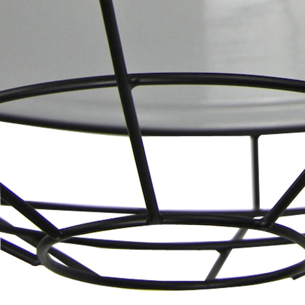 Cage Tennis Shade Pendant - Blue with Black - Industrial Lighting Studio - 3