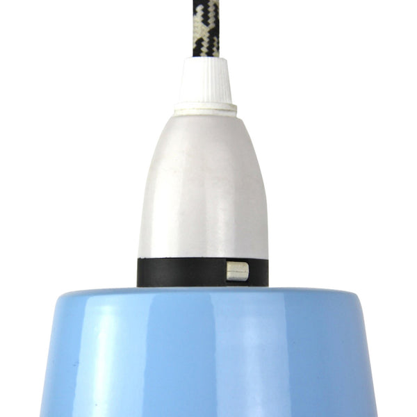 Cage Tennis Shade Pendant - Blue with Black - Industrial Lighting Studio - 4