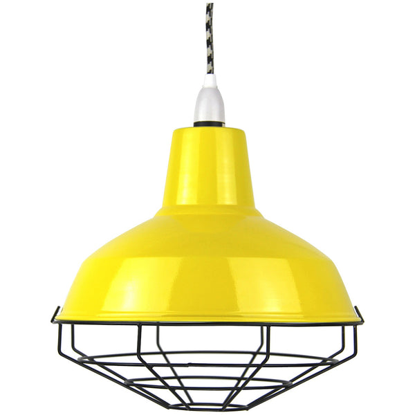 Cage Tennis Shade Pendant - Yellow with black - Industrial Lighting Studio - 1