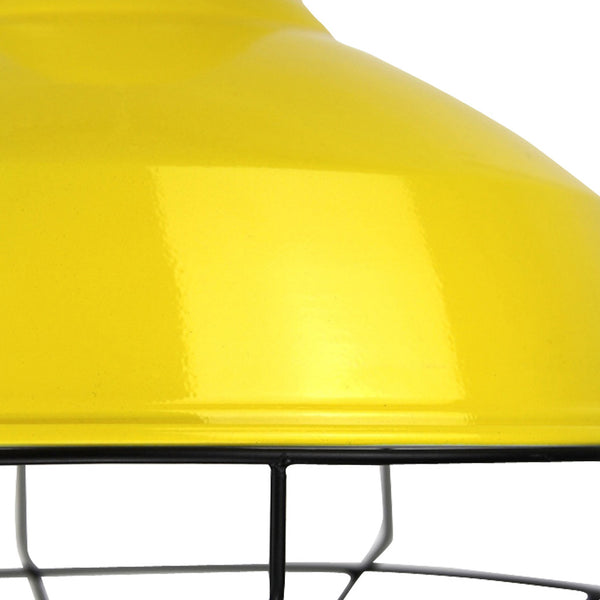 Cage Tennis Shade Pendant - Yellow with black - Industrial Lighting Studio - 3