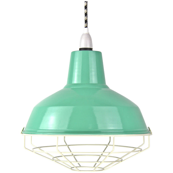 Cage Tennis Shade Pendant - Peppermint with white - Industrial Lighting Studio - 1