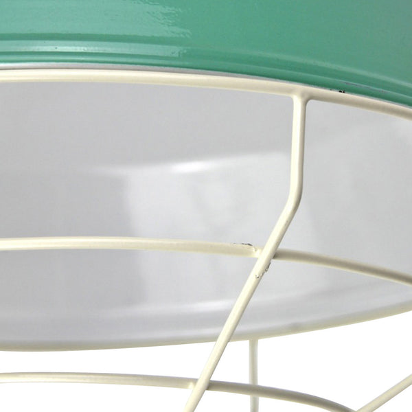 Cage Tennis Shade Pendant - Peppermint with white - Industrial Lighting Studio - 4