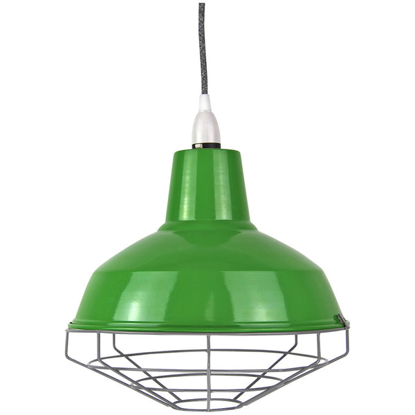 Cage Tennis Shade Pendant - Green with grey - Industrial Lighting Studio - 1
