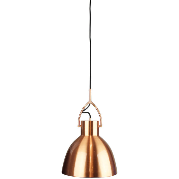 Industrial Brushed Copper Single Pendant Light - Large - Industrial Lighting Studio