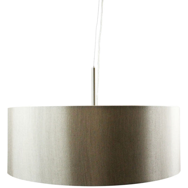 Linen Drum Pendant Light - Silver - Industrial Lighting Studio