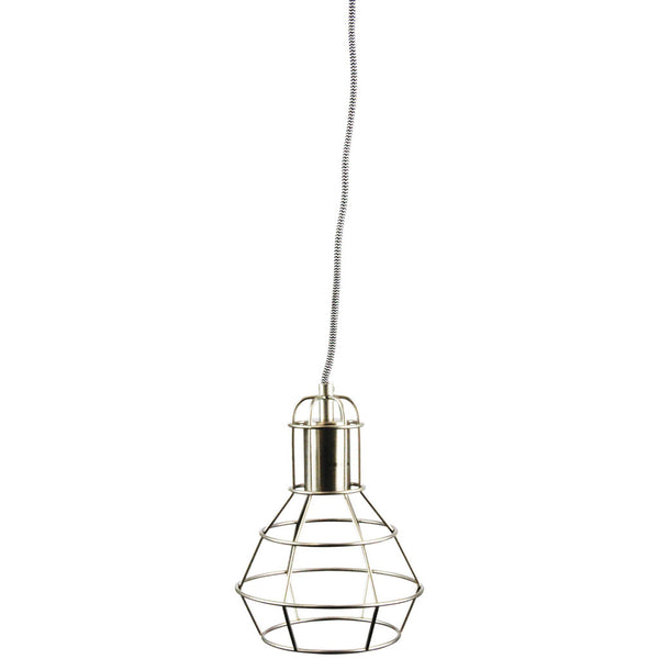 Single Cage Drop Pendant - Chrome - Industrial Lighting Studio