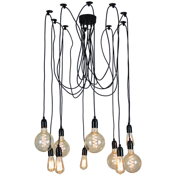 Philadelphia 10 Light Black Pendant - Industrial Lighting Studio - 1