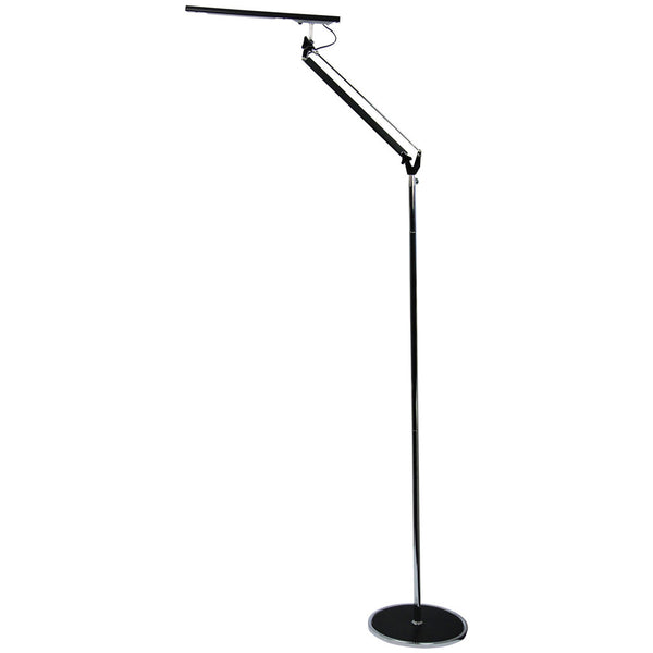 Teodara 6W Led Floor Lamp - Black & Chrome - Industrial Lighting Studio