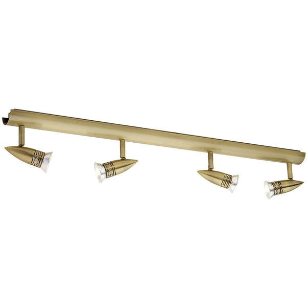 Proton 4 Light Rail Spotlight - Antique Brass - Industrial Lighting Studio