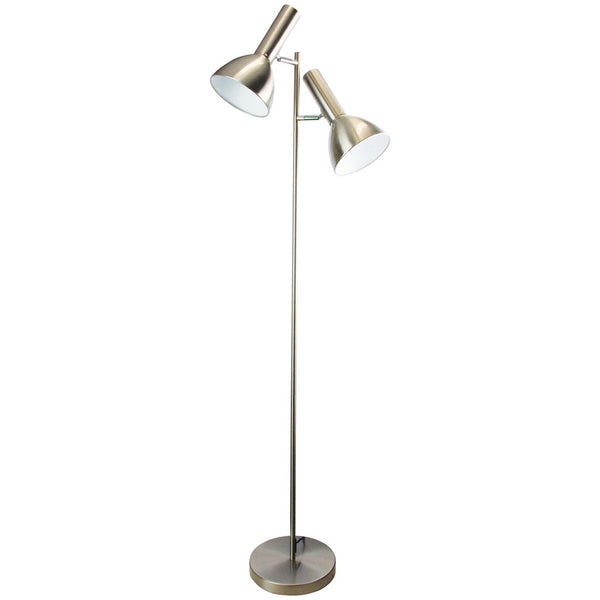 Old School Twin Floor Lamp - Brushed Chrome - Industrial Lighting Studio