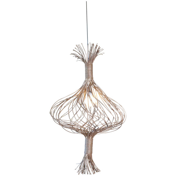 Sala Verde Single Garlic Pendant - Natural with Silver wire - Industrial Lighting Studio