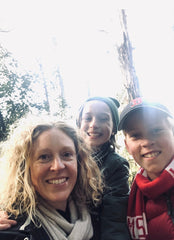 Sarah with her daughter and son in one of their favourite places, Sassafras, Victoria May 2020