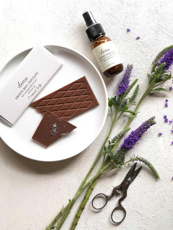 Relaxing Pillow & Room Mist and Smooth Milk Chocolate with Lavender & Sea Salt