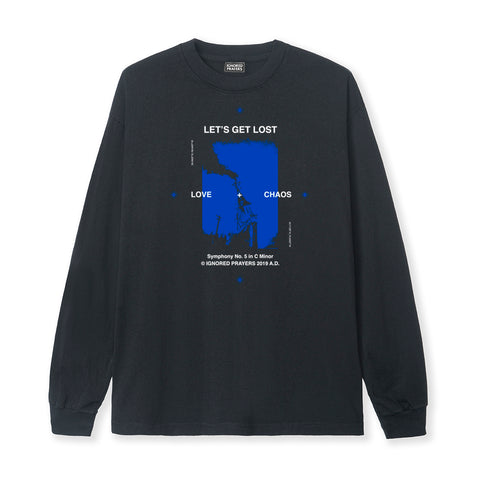 LET'S GET LOST L/S  TEE - BLACK