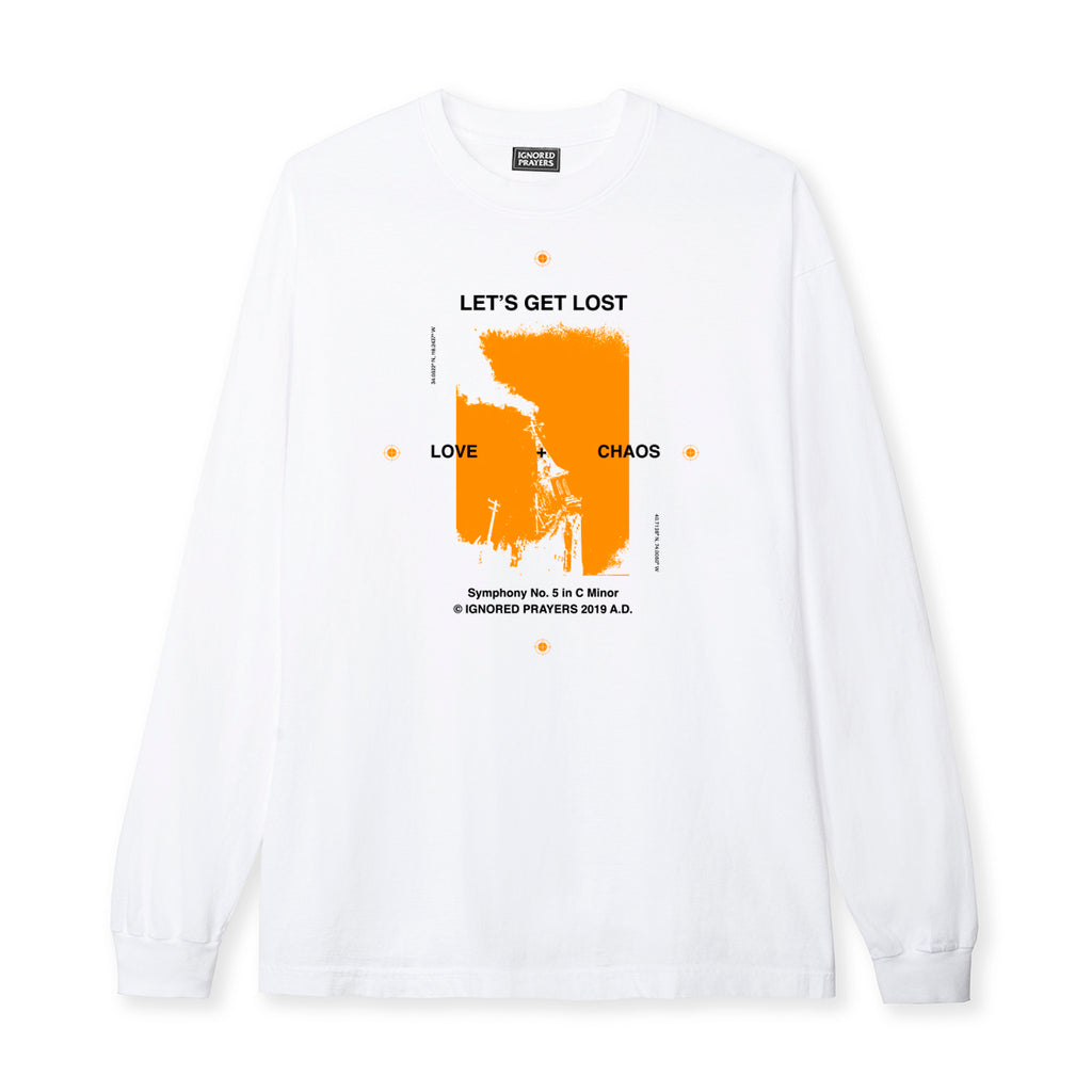 LET'S GET LOST L/S  TEE - WHITE