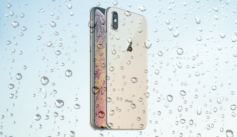 iPhone Xs Max with transparent water droplets at the front