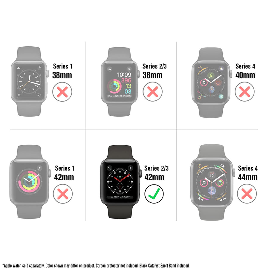 CAT42SBWAT3BLK | Waterproof Case for 42mm Apple Watch Series 3 Sport Band