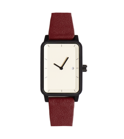 #3 Watch - Burgundy / White / Black - 38mm