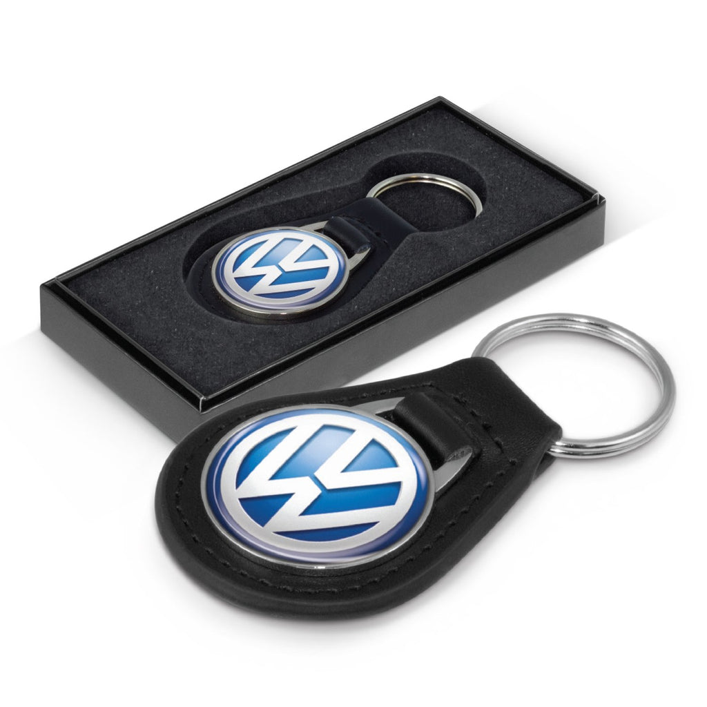 Baron Round Leather Branded Key Ring