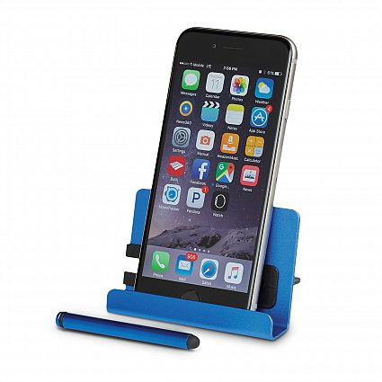 Light Blue Aluminium Personalised Phone Stand Stylus
