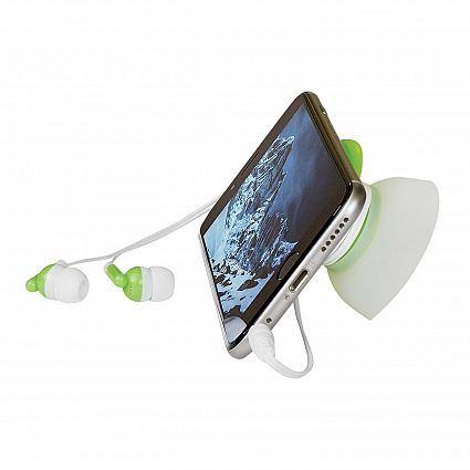 Green 2-In-1 Earbuds With Holder And Phone Stand With Logo
