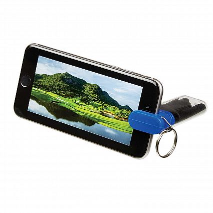 Blue Cleaning Cloth And Phone Stand Combo With Promo Key Tag