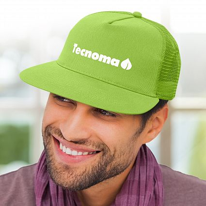 Green Decorate Impala Flat Peak Mesh Cap