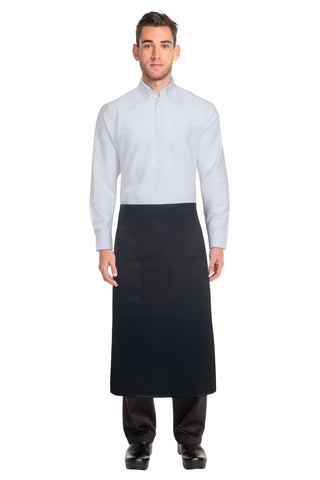 Black Two Pocket 3/4 Apron 122A-BLK