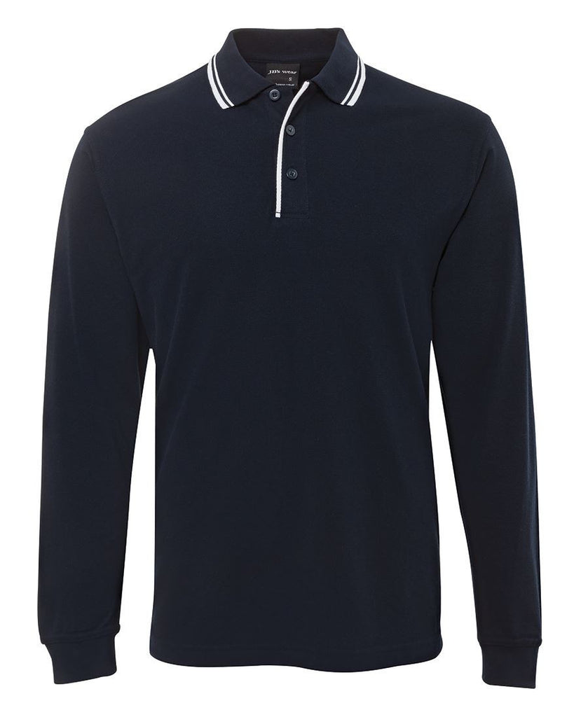 Navy/White Custom L/S Contrast Polo