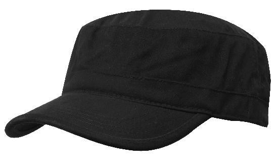 Black Sports Twill Military Cap In Bulk