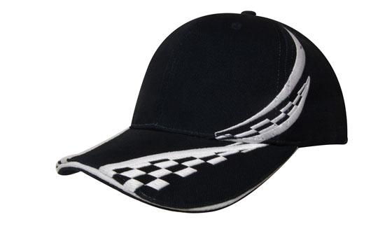 Brushed Heavy Cotton Cap with Swirling Checks & Sandwich H4076