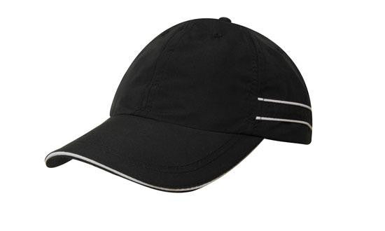 Black Microfibre Branded Sports Cap with Piping and Sandwich
