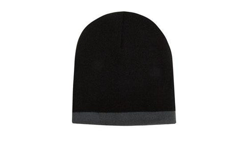 Roll Down Two Tone Acrylic Beanie - Toque H4188