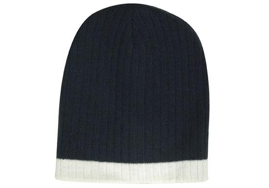 Two Tone Cable Knit Beanie - Toque H4195
