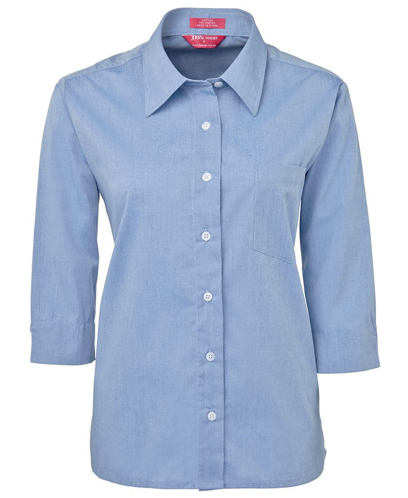 Lite Blue Ladies 3/4 Fine Chambray Shirt In Stock